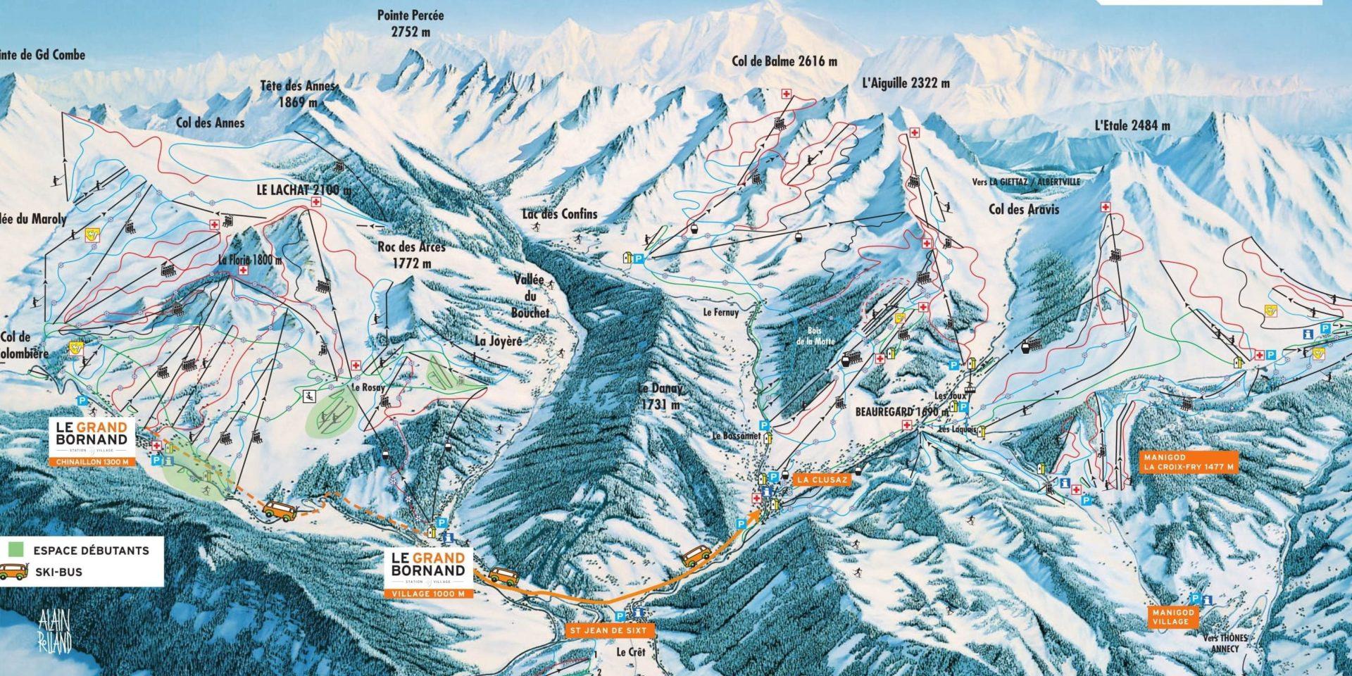 Pisteplattegrond Aravis Le Grand Bornand La Clusaz Manigod St Jean de Sixt Frankrijk plattegrond kaart skigebied wintersport skivakantie luxe