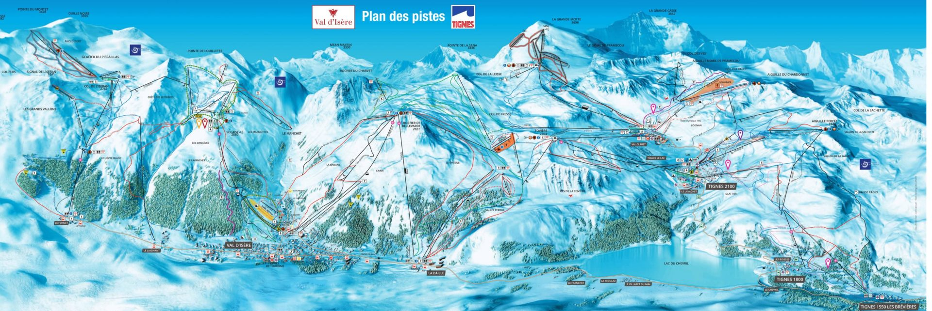 Pisteplattegrond Tignes-Val d'Isere wintersport skivakantie luxe