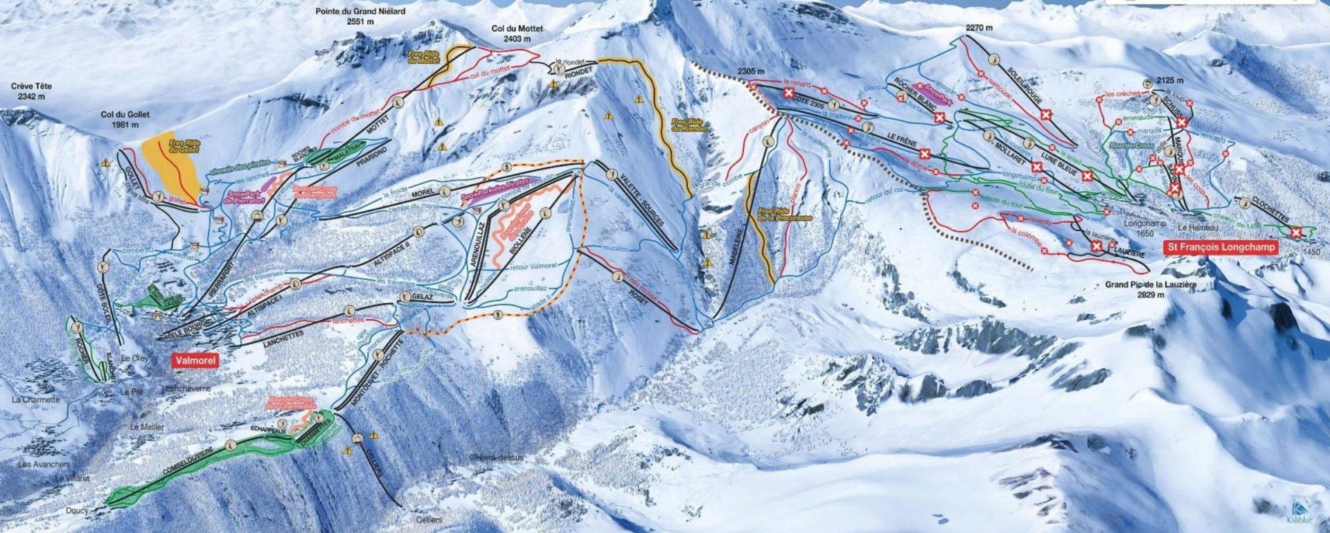 Pisteplattegrond Le Grand Domaine Frankrijk Valmorel St François de Longchamp wintersport skivakantie luxe