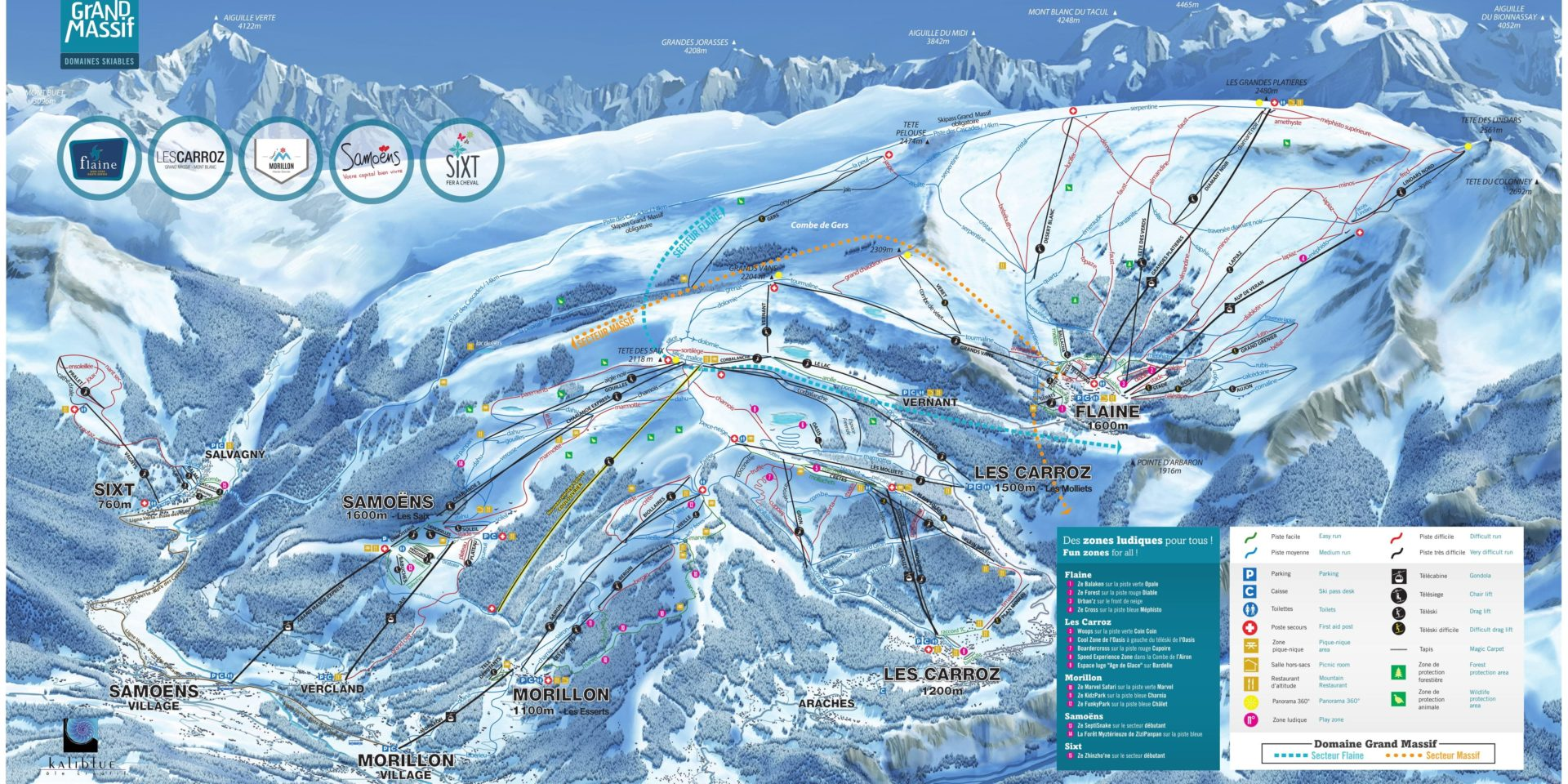 Pisteplattegrond Le Grand Massif Frankrijk Samoens Morillon Sixt Les Carroz Flaine skigebied tekening pistes wintersport skivakantie luxe