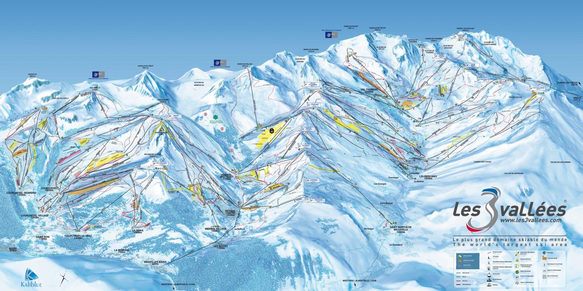 Pisteplattegrond Les 3 Vallees Frankrijk Courchevel La Tania Meribel Val Thorens Les Menuires Saint Martin de Belleville tekening plattegrond skigebied pistes wintersport skivakantie luxe