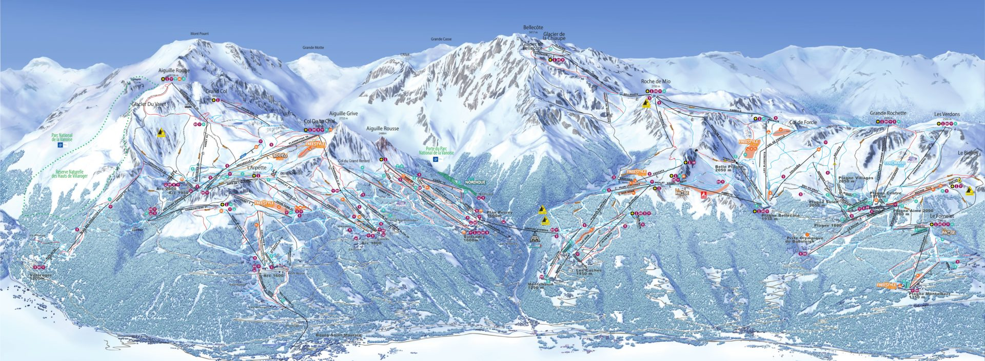 Pisteplattegrond Paradiski wintersport skivakantie luxe