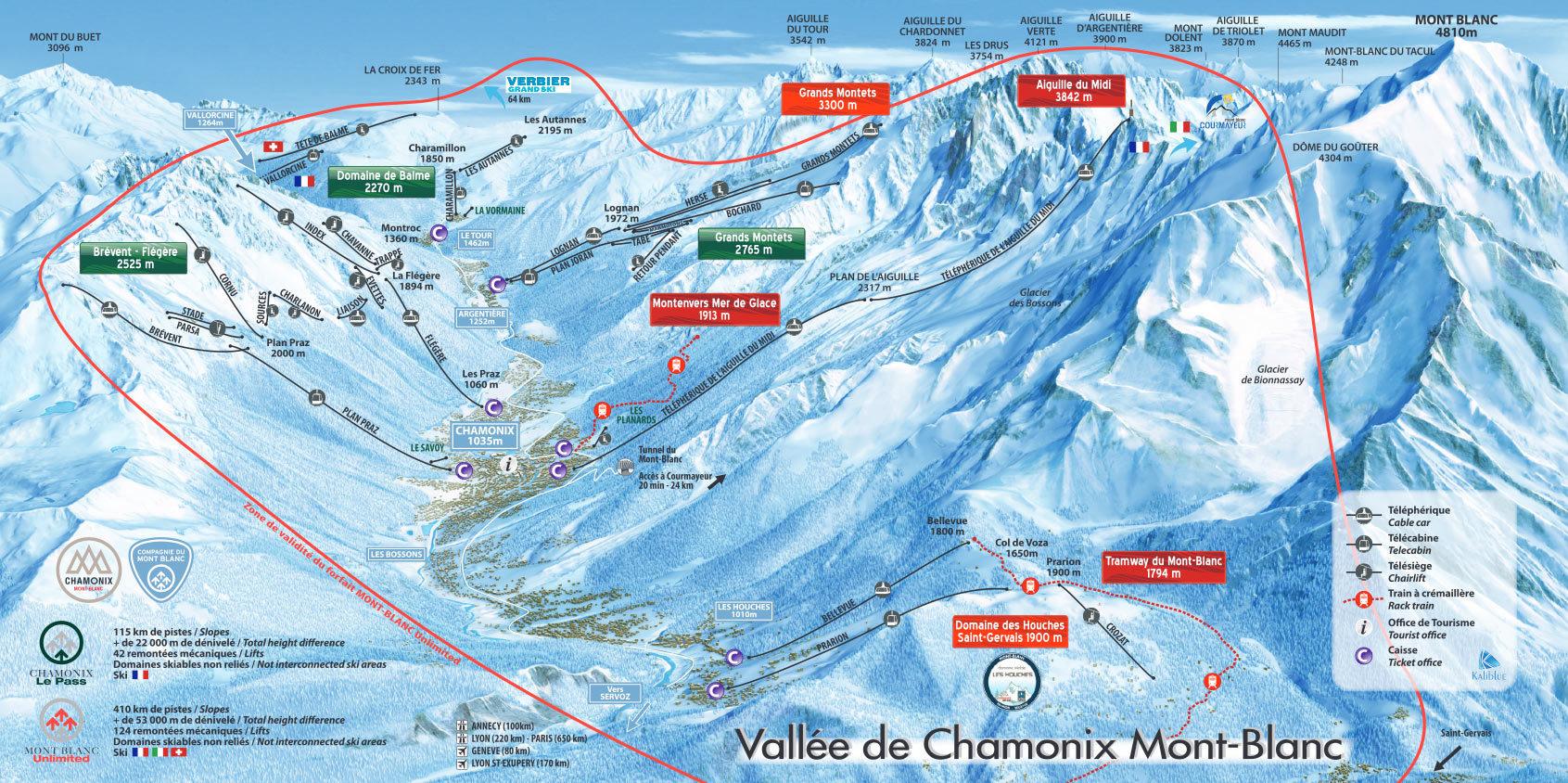Pistesplattegrond Mont Blanc Chamonix wintersport skivakantie luxe