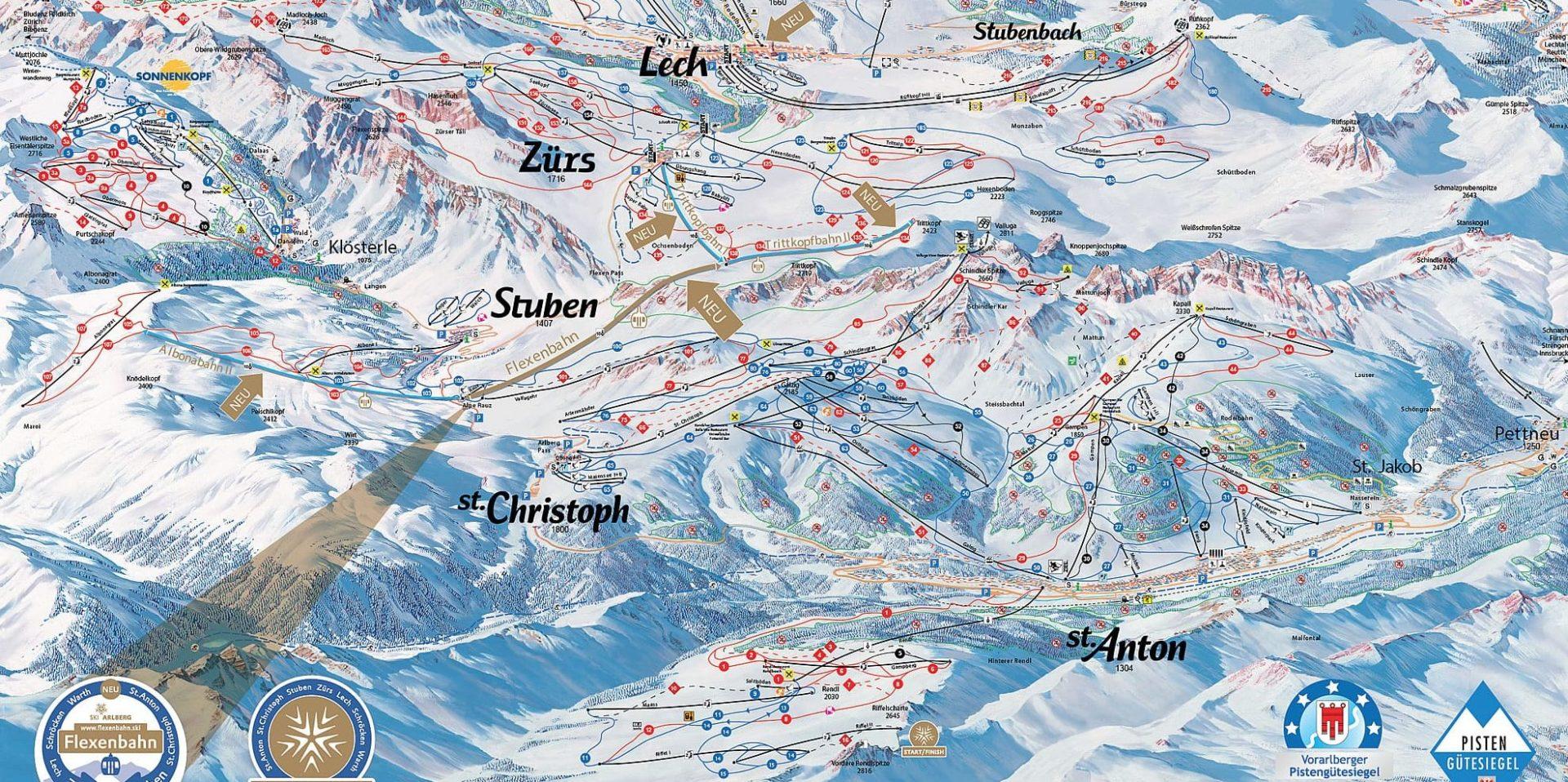 Pisteplattegrond Arlberg Oostenrijk wintersport skivakantie luxe