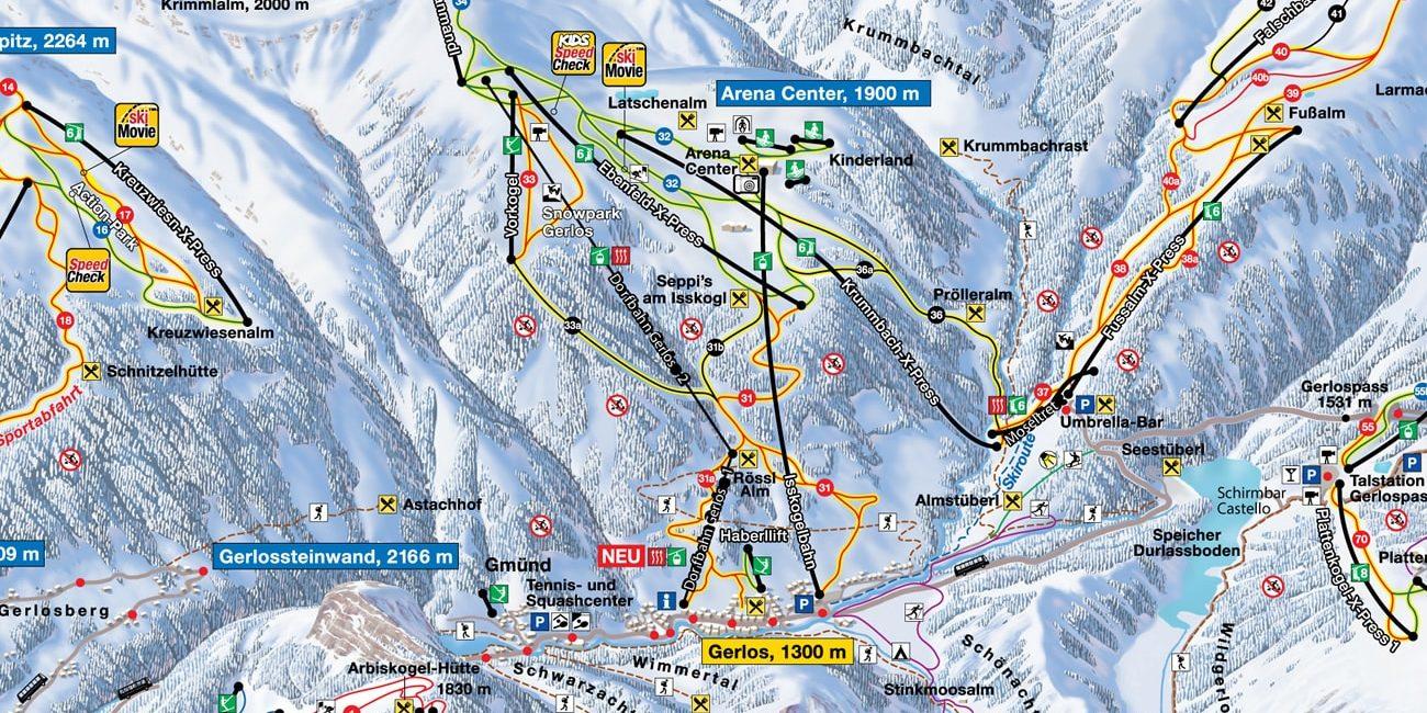 Pisteplattegrond Gerlos Zillertal Arena Oostenrijk wintersport skivakantie luxe
