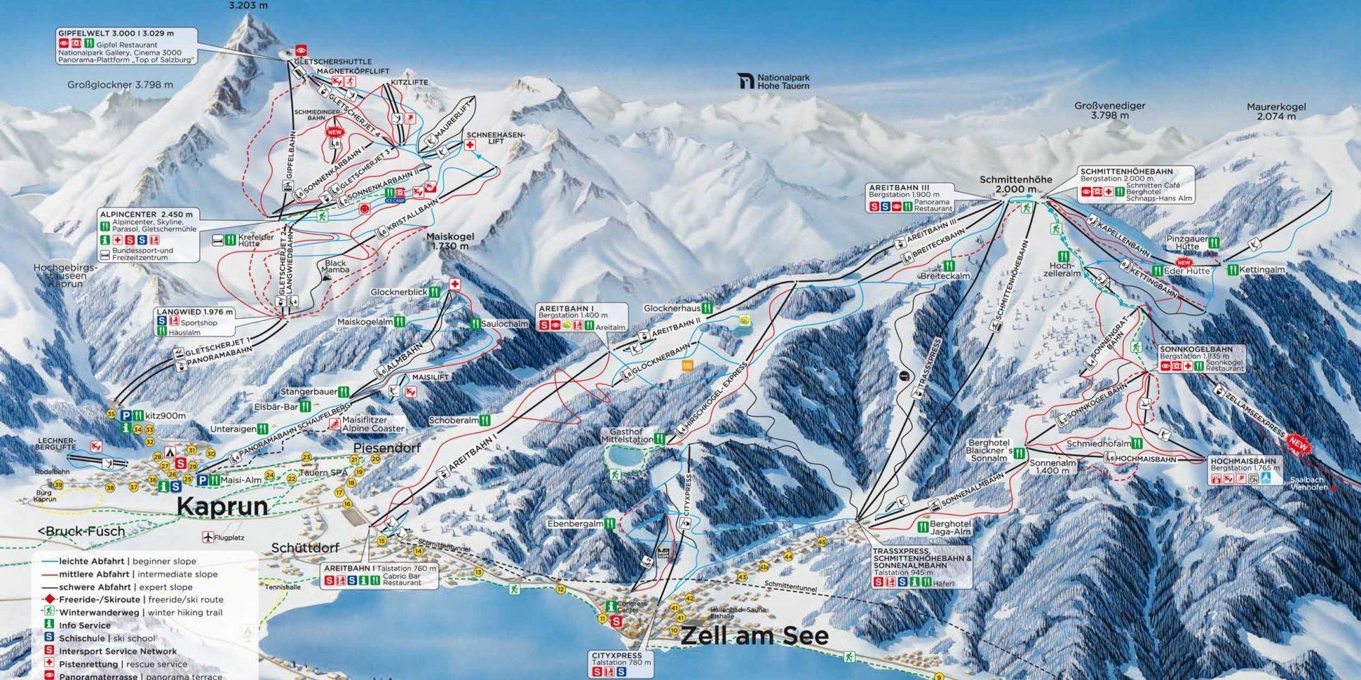 Pisteplattegrond Kaprun Zell am See-Kaprun Oostenrijk wintersport skivakantie luxe
