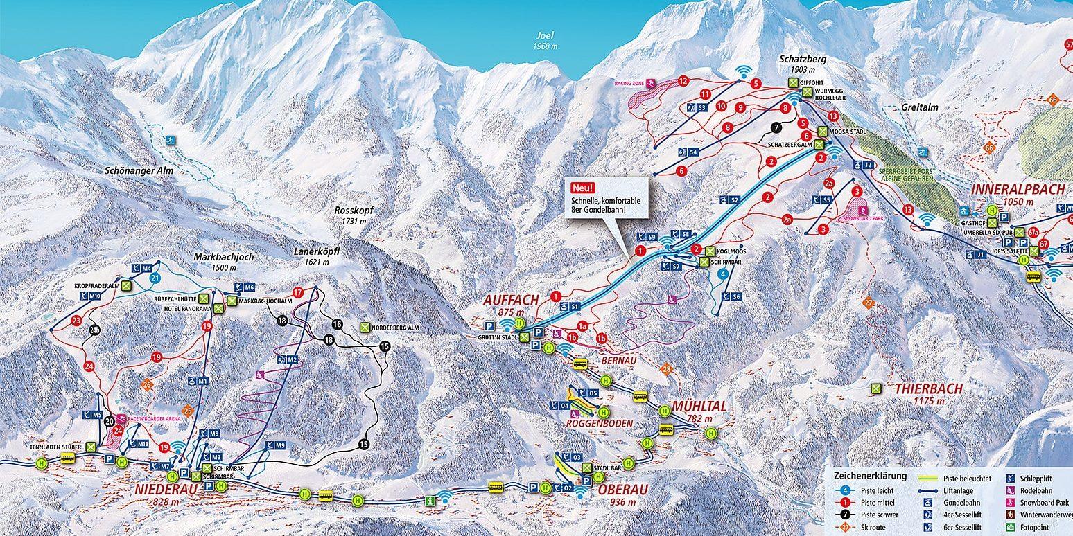 Pisteplattegrond Wildschonau Oostenrijk wintersport skivakantie luxe