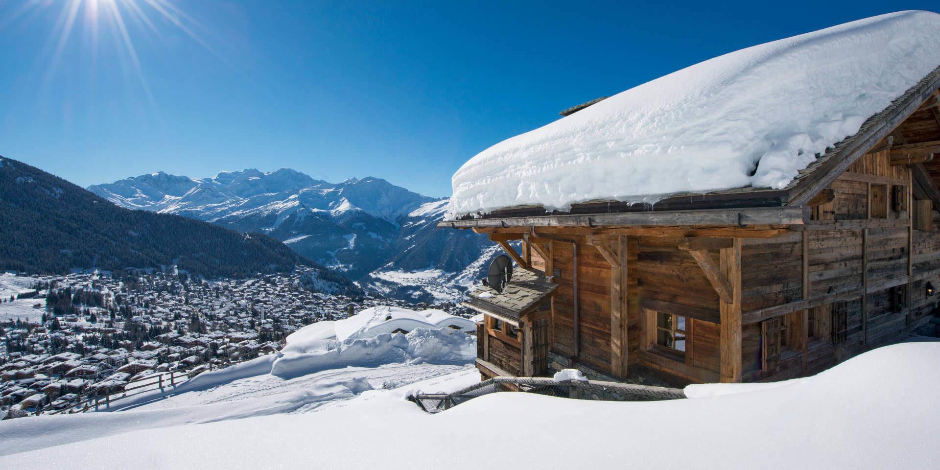Chalet Nyumba Verbier Les 4 Vallees Zwitserland wintersport skivakantie luxe fantastisch uitzicht dorp sneeuw bergen