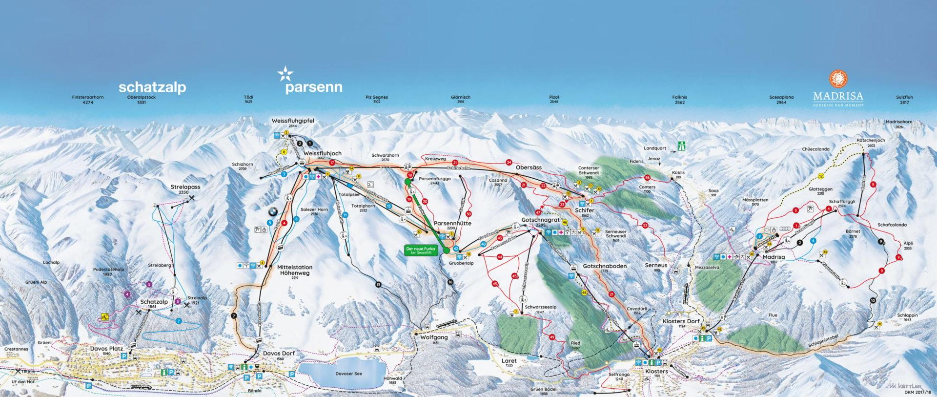 Pisteplattegrond Davos Klosters Mountain Zwitserland wintersport skivakantie luxe
