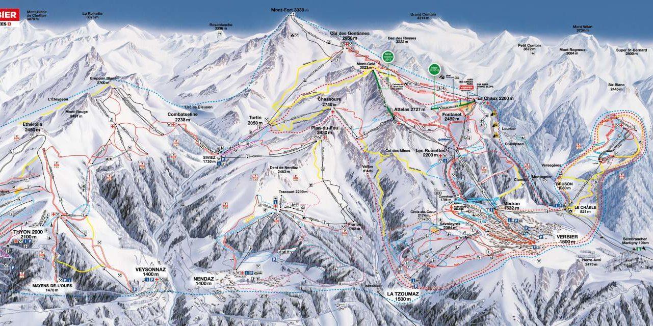 Pisteplattegrond Les 4 Vallees Zwitserland wintersport skivakantie luxe