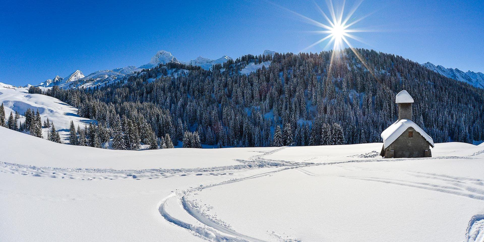 Hotel Beauregard La Clusaz Aravis Frankrijk wintersport skivakantie luxe uitzicht bomen bergen sneeuw genieten