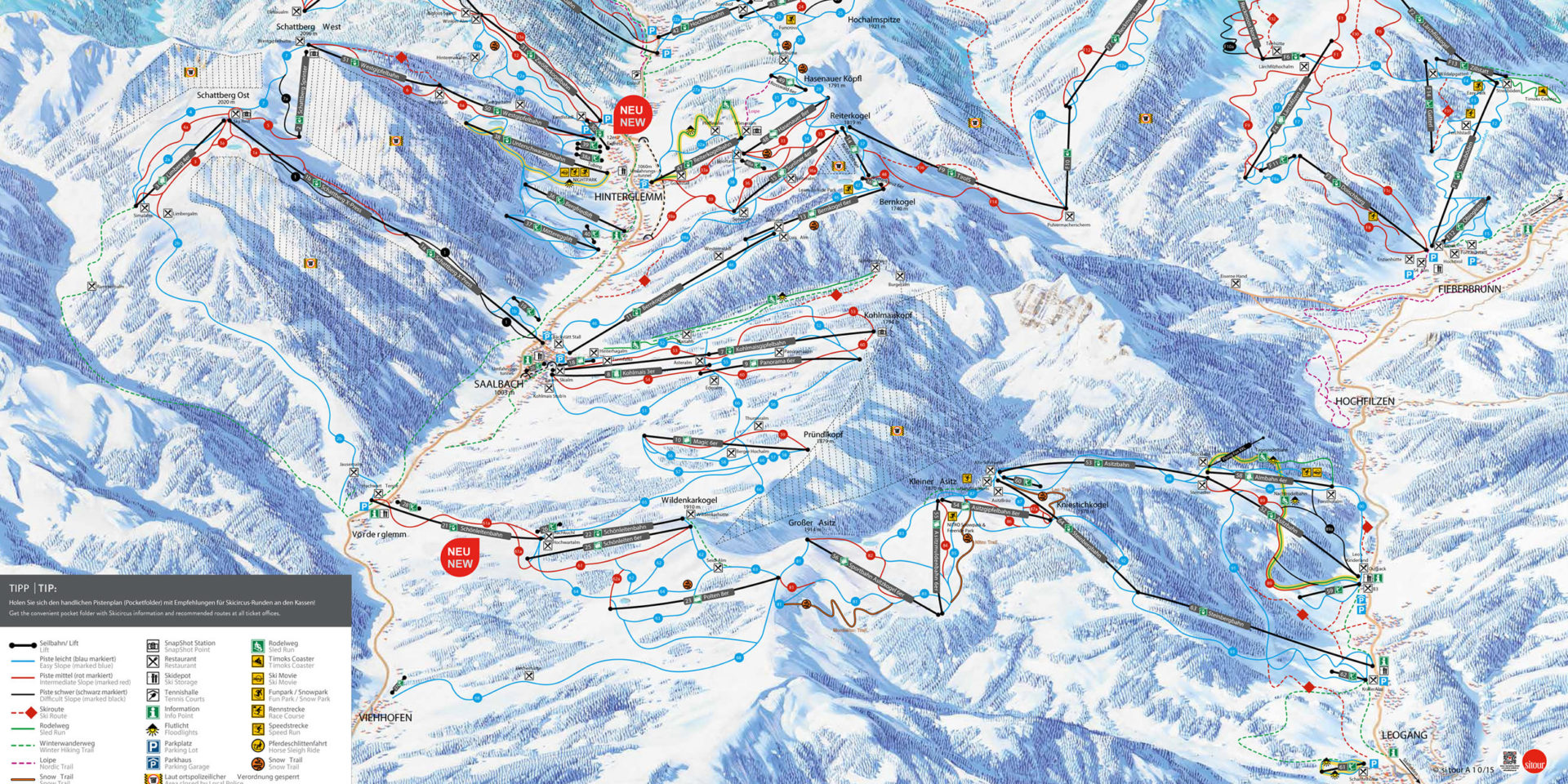Pisteplattegrond Skicircus Saalbach Hinterglemm Leogang Fieberbunn Oostenrijk