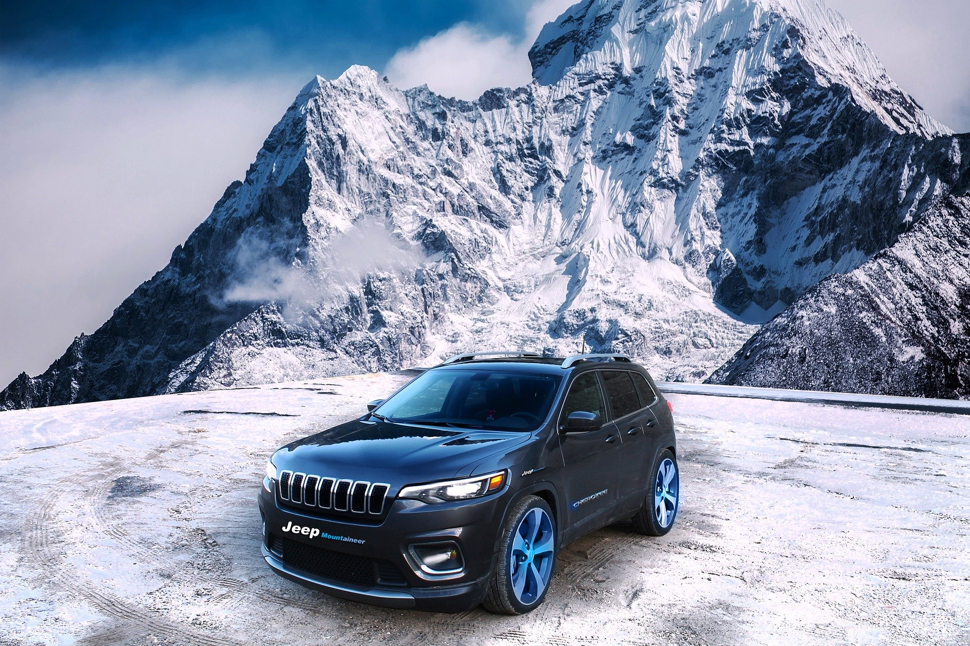 Jeep bergen sneeuw wintersportdeluxe